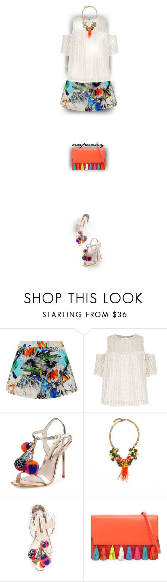"""Cold Shoulder Tops"" by serepunky ❤ liked on Polyvore featuring Suboo, River Island, Sophia Webster, Radà, Rebecca Minkoff, shorts, summerfashion, tropicalprints, pompom and coldshouldertop"