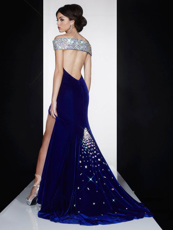 Blue Velvet Clothing - beautiful open back mid night blue velvet ...