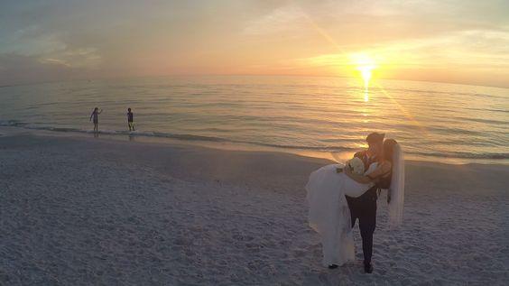Aerial shot from drone of wedding at TradeWinds Island Resort http://celebrationsoftampabay.com/