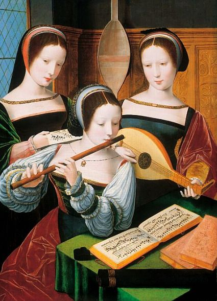 ♪ The Musical Arts ♪ music musician paintings - Unknown (Master of the Female Half-Length Portraits)   Three Ladies Making Music, 1530-60: