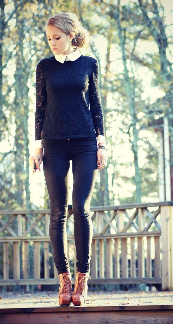 cute outfit... Skinny jeans & Peter pan collar
