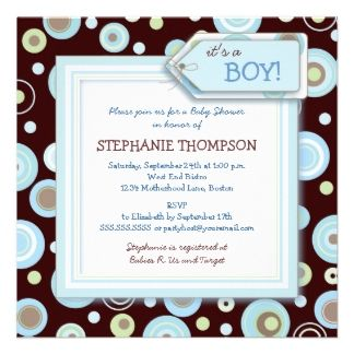 Chalk board baby shower invitations | ... this cute blue, green, and cocoa brown polka dot shower invitation