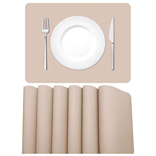 Morrols Sets De Table En Cuir Pu Lot De 6 Sets De Table Lavable Impermeables Antiderapant Rectangulaire Sets De Table Pour Res Sets De Table Set De Table Table