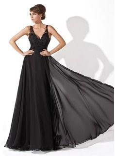 Vestidos princesa/ Formato A Decote V Vestidos longo Tecido de seda Tule Vestido de baile com Pregueado Renda Bordado