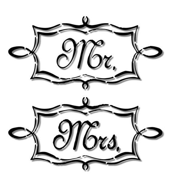 Mr. & Mrs. Script / Cursive Sign Stencil-- Matte Mylar Stencil. Great for stenciling on fabric, paper, and walls!