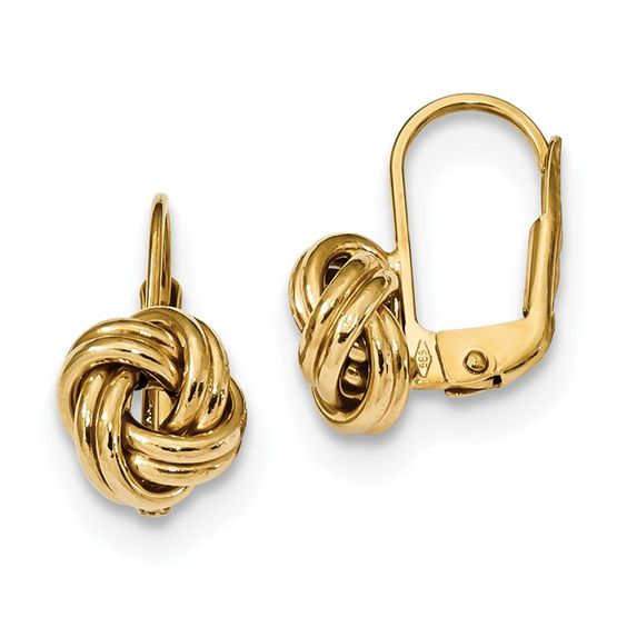 14k Polished Love Knot Leverback Earrings FREE Standard Shipping - refund policy