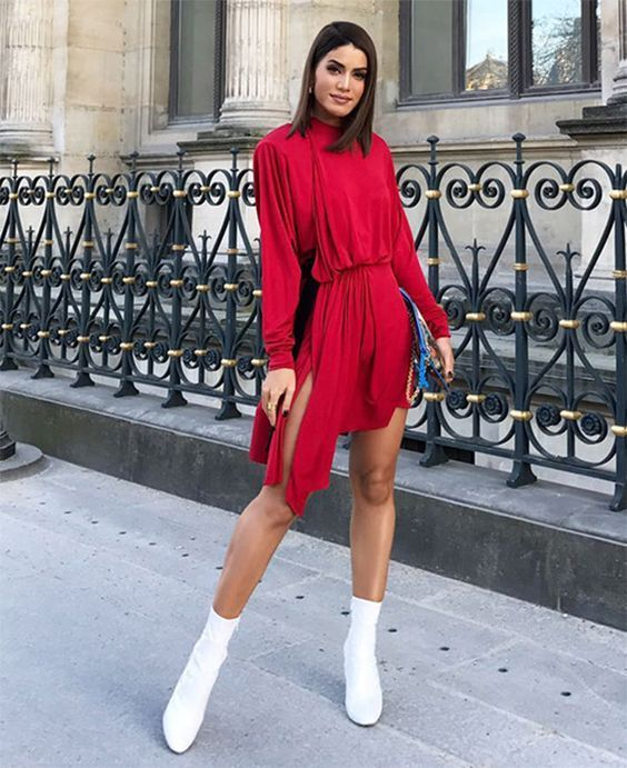 red dress white boots
