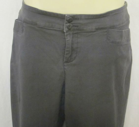 Coldwater Creek Womens Charcoal Gray 12 Pants Modern Fit Cotton Slacks Pockets
