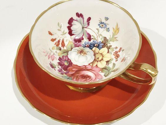 Radiant Hammersley Tea Cup and Saucer, English Teacups, Orange Tea Cups, Antique Tea Cups Vintage, Floral Tea Cups, Artist Signed Cups by AprilsLuxuries on Etsy