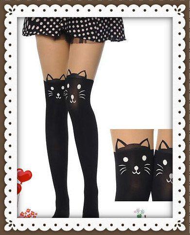 Cat & Tail Printed Tights/Pantyhose/Stockings/Leggings by Johasfun, $9.50: