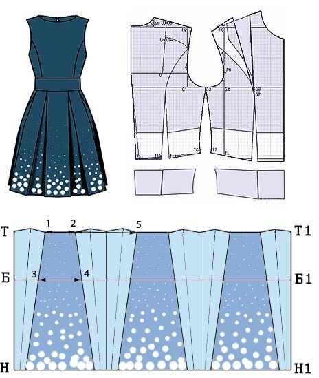 Платье из купонной ткани Платье по лифу плотно облегающее, внизу расклешённое. Рельефы на лифе от проймы. Широкий втачной пояс от линии талии. Сгибы встречных складок на юбке заутюжены под наклоном. Застёжка на горловине на маленькую пуговицу, на талии на потайную молнию.  Модель разработана на основе платья прилегающего силуэта с прибавками на свободу облегания равными 1 см. Вытачка от плеча закрыта, а открыта от проймы.