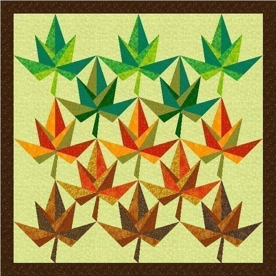 Maple Leaf paper pieced quilt block pattern by PieceByNumberQuilts, USD 3.00 quilting Pinterest ...