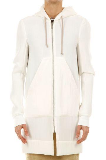 Rick Owens hooded long white jacket (art. RU 3977/S)