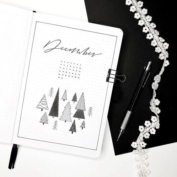 30 idées pour votre page de décembre dans votre Bullet Journal - @leelajournals on instagram