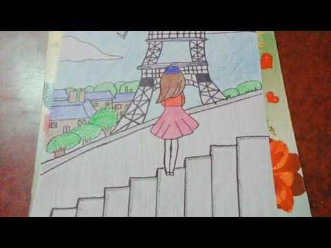 رسم بنت في باريس إيفل برج خطوه بخطوه Girl In Paris Eiffel Youtube Paris Girl My Arts Outdoor Blanket