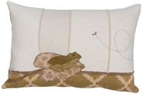 Applique Frog 13 X 19 Lumbar Pillow On Cream Patchwork