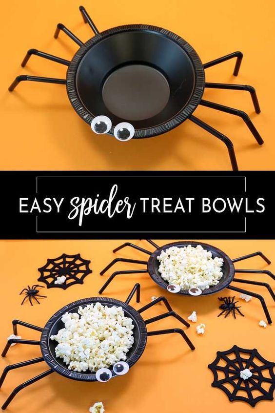 This is the easiest and cutest Halloween craft! Plastic bowls and straw with a bit of hot glue and your favorite treat make these perfect for Halloween parties.