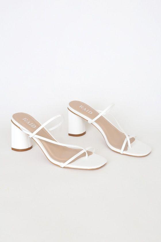 Brioni White Strappy High Heel Sandals In 2020 White Block Heel Sandals Strappy High Heels Sandals White Sandals Heels