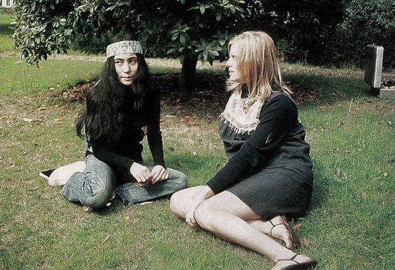 The Fab Four with Yoko Ono and Linda McCartney at Tittenhurst Park.