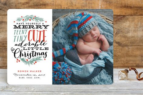 Merry Teeny Tiny Cute Adorable Little Christmas Holiday Birth Announcements by Shiny Penny Studio at minted.com