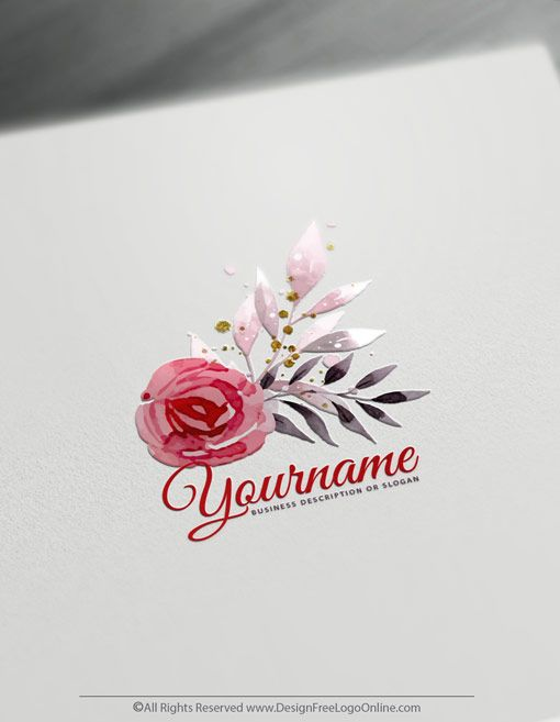 Free Watercolor Logo Maker Create Watercolor Flower Logo Template Flower Logo Flower Logo Design Floral Logo Inspiration