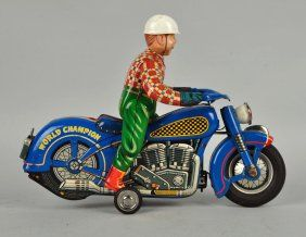 Scarce Japanese Tin World Champion Motorcyclist. : Lot 315
