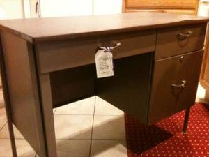 vintage metal desk with key $45 in Booth 4