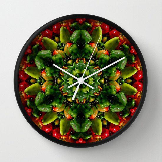 Pepper mandala wall clock, farmer's market, autumn harvest, produce  decor, farmer's market, autumn harvest, produce, autumn decor by RVJamesDesigns on Etsy