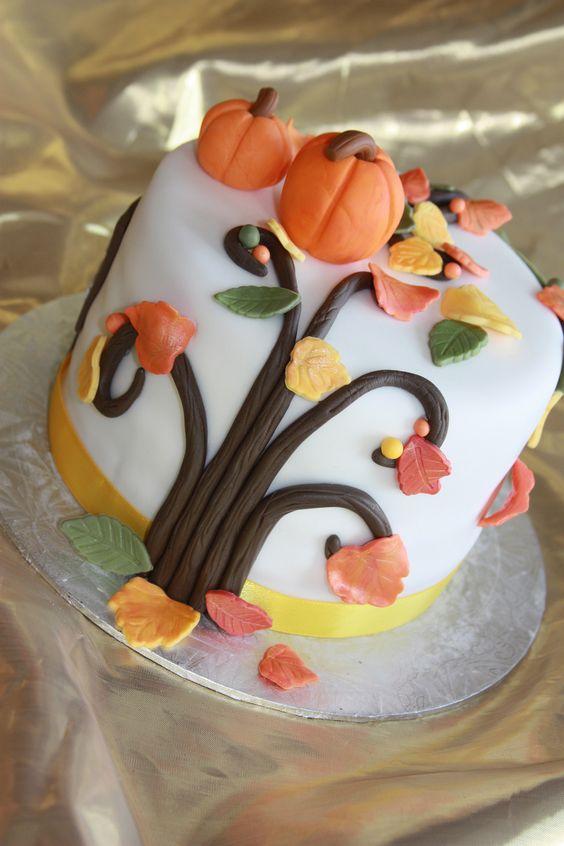 Fall Tree Cake - Fall inspired cake for Thanksgiving dinner.