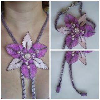 Colar em crochê tubular e flor em brick stitch