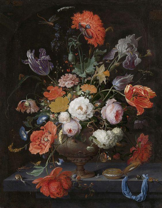 Stilleven met bloemen en een horloge, Abraham Mignon (Frankfurt am Main, gedoopt 21 juni 1640 – Utrecht, 27 maart 1679), ca. 1660 - ca. 1679 #collectievissen #bloemen