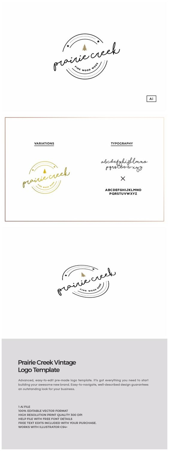 Prairie Creek Vintage Logo Template by Design Co. on @creativemarket
