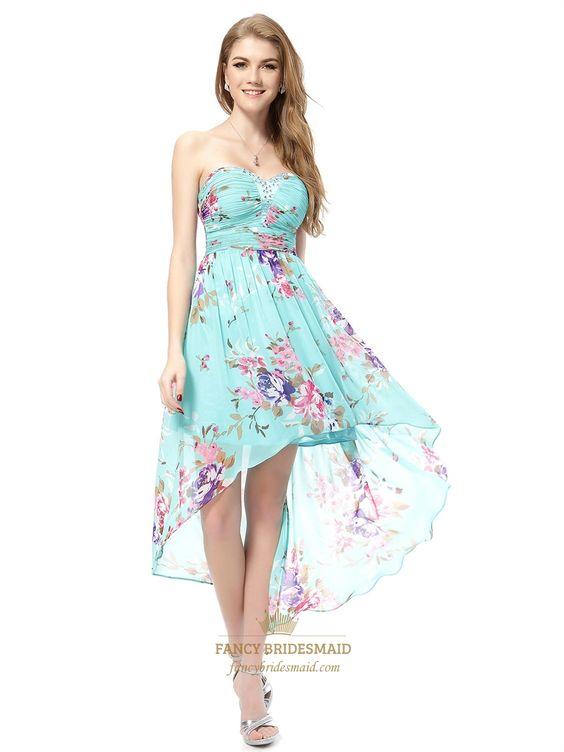 Floral High Low Prom Dresses -Aqua Blue Floral Dress-Turquoise ...
