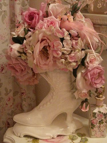 Pink roses in china boot