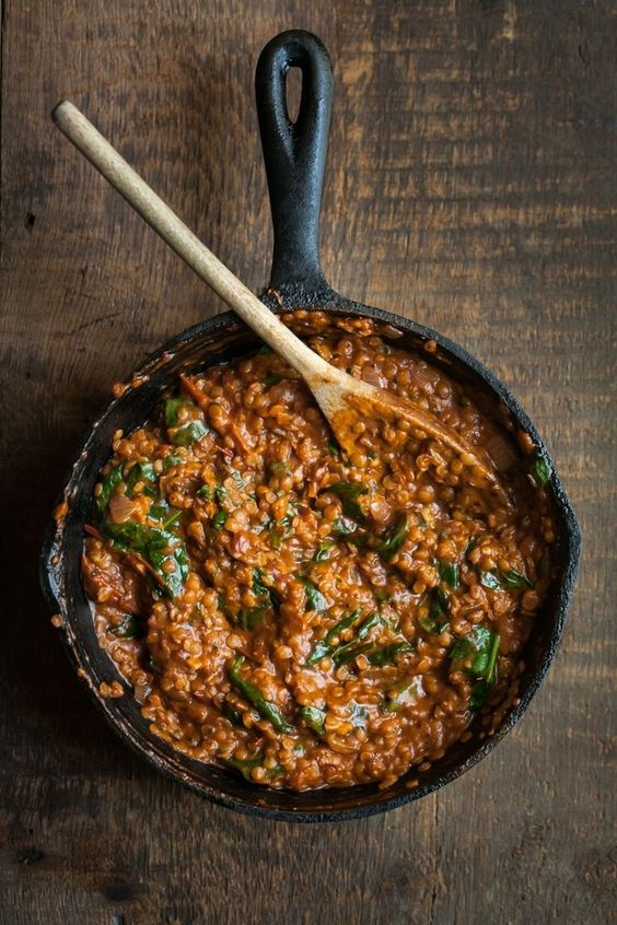 Spicy Red Lentils Masala with Spinach via Naturally Ella