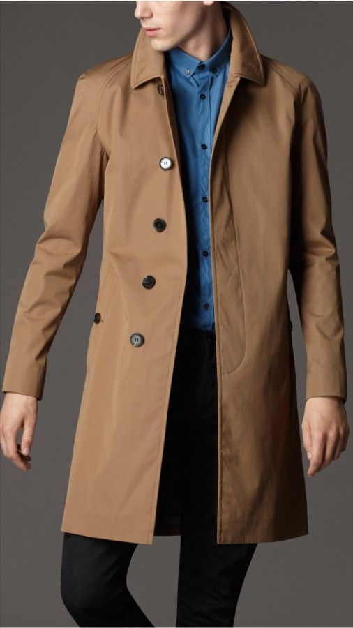 single breasted cotton rain coat