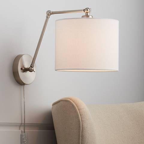 Barnes Brushed Nickel Down Light Wall Lamp 39w73 Lamps Plus Swing Arm Wall Lamps Wall Lights Wall Lamps Bedroom