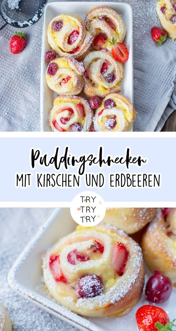 Puddingschnecken mit Kirschen und Erdbeeren