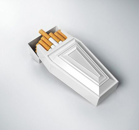 Creative cigarette packaging designed to encourage people to quit smoking. Cigarette packaging, designed by Didac Catalán, houses one cigarette and one match inside a small coffin shaped box.