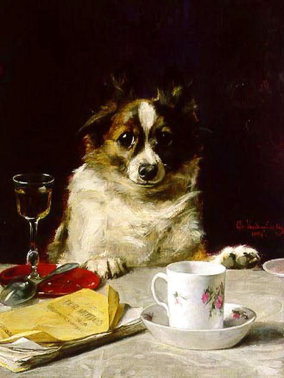 Um companheiro perfeito para o chá, 1884 Charles van den Eycken (Bélgica, 1859-1923) óleo sobre madeira, 36 x 27 cm