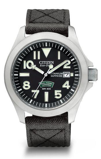 Citizen Eco-Drive Men's Chronograph AT0890-56E Titanium Citizen Watch - Royal Marine Edition