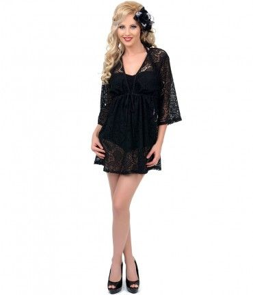 Get ready for the beach with the black skull lace #swimsuit cover up! #rockabilly #uniquevintage