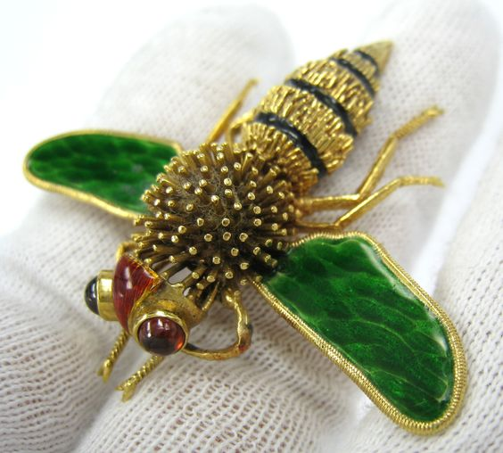 Killer Multi Color Enamel Tourmaline Insect Bee 18K Yellow Gold Brooch: