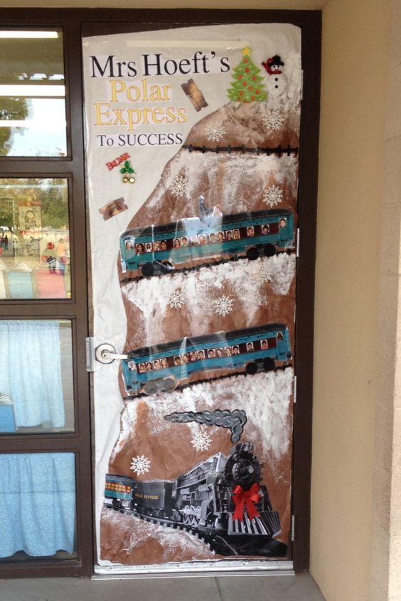 Polar Express Classroom Decoration Ideas ~ Classroom christmas door decoration all aboard the polar