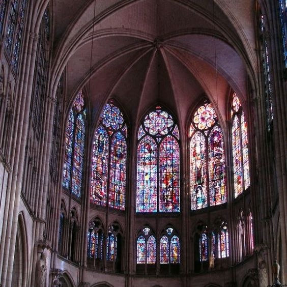 Stained Glass Window in Troyes Cathedral in France