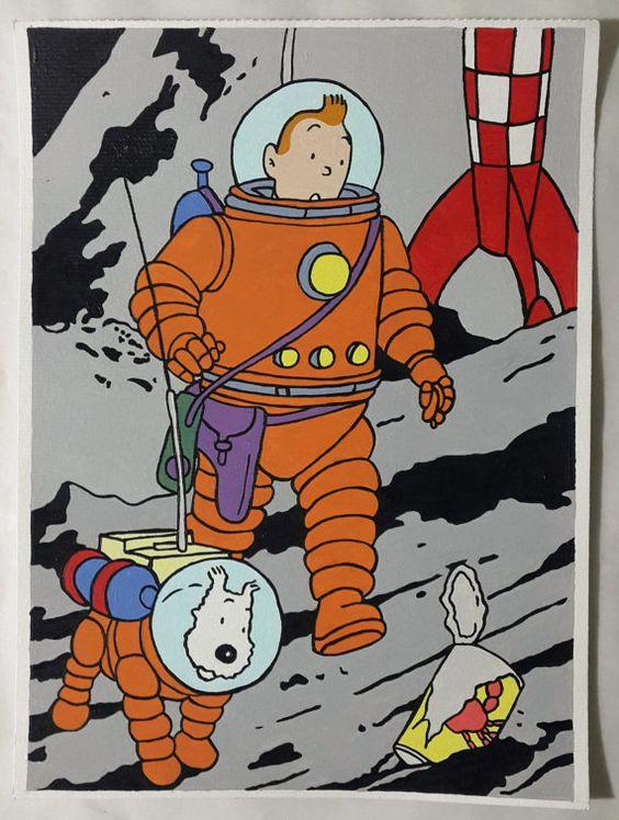 宇宙の惑星を探索するタンタンの画像