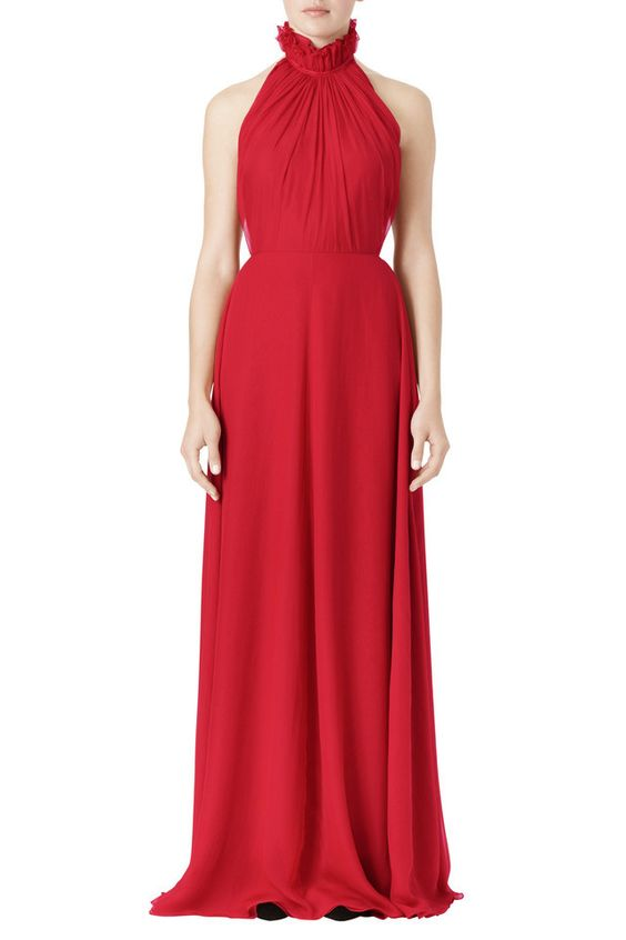 Honor NYC Silk Voile Chiffon Halter Dress in Crimson $2600
