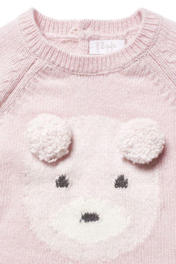 MAGLIA ORSETTO CON PON PON ROSA - neonata 0-2 | Il Gufo