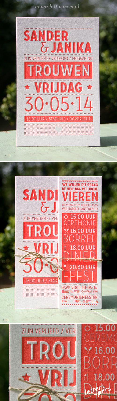 letterpers_letterpress_trouwkaart_sander_Janika_fluor_koraalrood_kleur-op-snede_-strak_siem_fluor