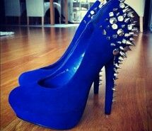 Royal Blue And Silver Heels